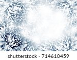 floral  dark blue white... | Shutterstock . vector #714610459