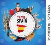banner travel to spain.... | Shutterstock .eps vector #714612301