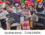 day of the dead parade in... | Shutterstock . vector #714614404