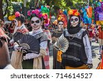day of the dead parade in... | Shutterstock . vector #714614527