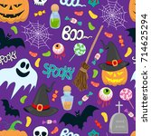 halloween vector seamless... | Shutterstock .eps vector #714625294