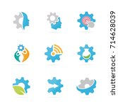 set of gear logo combination.... | Shutterstock .eps vector #714628039