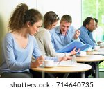 lunch time at the office | Shutterstock . vector #714640735