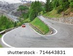 panorama of the Stelvio Pass, Italy - stock photo