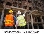 construction engineers... | Shutterstock . vector #714647635