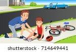 helping children after a... | Shutterstock .eps vector #714649441