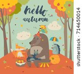 hello autumn background with...   Shutterstock .eps vector #714650014