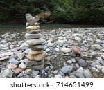 Small photo of Cairn Along River with Heart