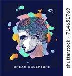 athlete. dream sculpture.... | Shutterstock .eps vector #714651769