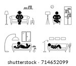 stick figure resting at home... | Shutterstock . vector #714652099