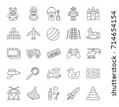 kids toys linear icons set....