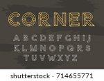 vector line font. trendy style... | Shutterstock .eps vector #714655771