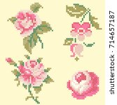 cross stitch roses elements | Shutterstock .eps vector #714657187