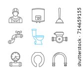 plumbing linear icons set. thin ... | Shutterstock .eps vector #714659155