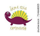cute little dinosaur. vector... | Shutterstock .eps vector #714668005