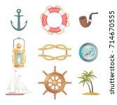cartoon vector nautical... | Shutterstock .eps vector #714670555