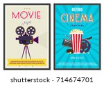 retro movie posters set in... | Shutterstock .eps vector #714674701