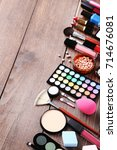 different makeup cosmetics on... | Shutterstock . vector #714676081