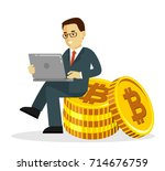 cryptocurrency concept with man ... | Shutterstock .eps vector #714676759