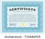 light blue classic certificate... | Shutterstock .eps vector #714686935