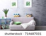 modern living room design with... | Shutterstock . vector #714687031