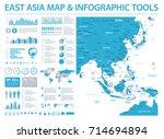 east asia map   detailed info... | Shutterstock .eps vector #714694894