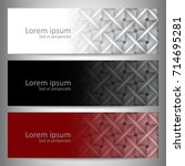 three abstract vector banner...   Shutterstock .eps vector #714695281