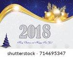 elegant 2018 christmas and new... | Shutterstock . vector #714695347