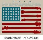 2018 calendar with an american...   Shutterstock . vector #714698131
