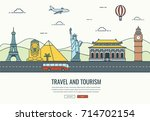 travel composition with famous... | Shutterstock .eps vector #714702154