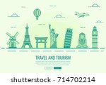 travel composition with famous... | Shutterstock .eps vector #714702214