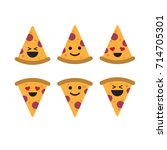 happy pizza emoticons. laugh ... | Shutterstock .eps vector #714705301