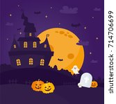 halloween night background.... | Shutterstock .eps vector #714706699