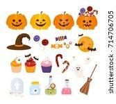 halloween cartoon set. pumpkin  ...   Shutterstock .eps vector #714706705