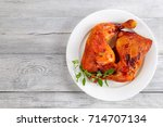 delicious roasted chicken leg... | Shutterstock . vector #714707134
