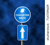 road sign of hurricane irma  3d ... | Shutterstock .eps vector #714709609