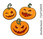 Stock vector set of cartoon halloween pumpkins hand drawn vector illustration isolated on white background 714710935