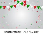 green and red white confetti... | Shutterstock .eps vector #714712189