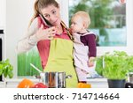 working mom being stressed by... | Shutterstock . vector #714714664