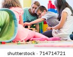 cute pre school boy cooperating ... | Shutterstock . vector #714714721