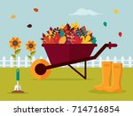 autumn gardening. wheelbarrow... | Shutterstock .eps vector #714716854