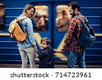 couple of tourists with their... | Shutterstock . vector #714723961