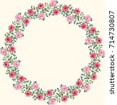 floral round frames from cute... | Shutterstock .eps vector #714730807