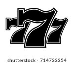 Stock vector triple lucky sevens black and white vector illustration 714733354