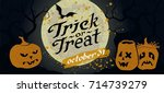 scary forest with pumpkins ... | Shutterstock .eps vector #714739279