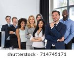 mix race business people group... | Shutterstock . vector #714745171