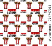 vector hello autumn text and... | Shutterstock .eps vector #714747085