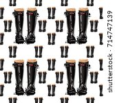 vector black classic wellies... | Shutterstock .eps vector #714747139
