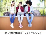 young students on campus   Shutterstock . vector #714747724