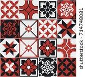 seamless pattern of tiles.... | Shutterstock .eps vector #714748081